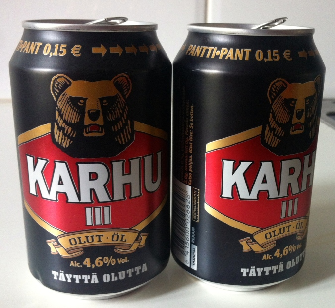 Karhu = bear so its Bear Beer