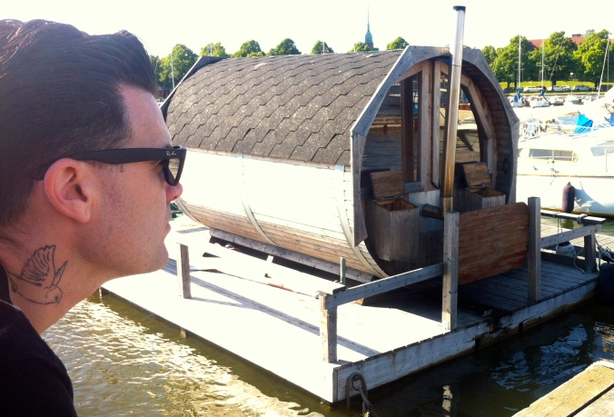 I think this is a floating wood-fired sauna
