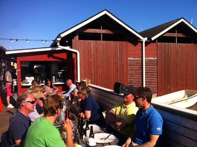 The bar and outdoor seating at Skiffer