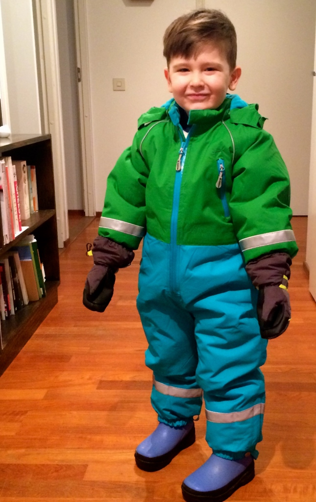 Layer three: snow suit and gloves