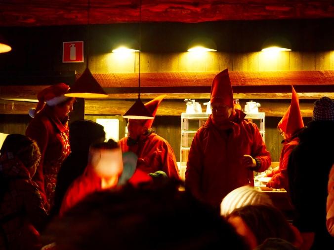 Christmas elves serving porridge at Seurasaari 2014